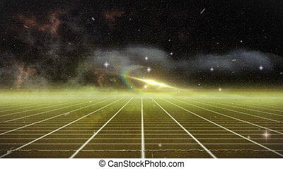 Animation of a yellow grid of parallel lines moving against a night sky with clouds, stars, lens flare and a prismatic halo. Colour, space and movement concept digitally generated image.