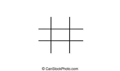 grid., marquer, deux, o, croix, x, virages, ou, jeu, zéros, ...