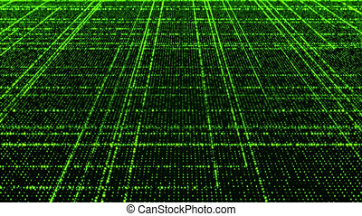 Grid of green glowing particles