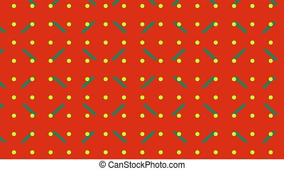 Grid of yellow dots and green lines moving on red background