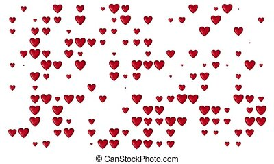 Grid pattern with lots of small red and chubby Flying Hearts disappearing