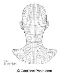 grid., scanning., géométrique, tête, skin., polygone, vue, ...