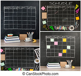 Grid timetable schedule with stationery on black chalkboard background.