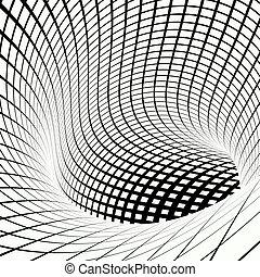 grid vortex tunnel black and white