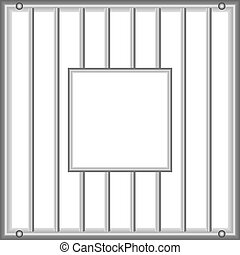 Grid with inner window - Industrial grille with vertical...