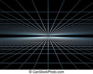 Grid World - Elegant detailed grid lines rendered on plain...