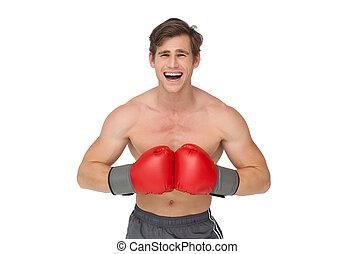 gridare, adattare, pugilato, uomo, guanti, rosso, il portare