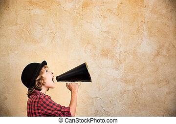 gridare, megafono, attraverso, capretto