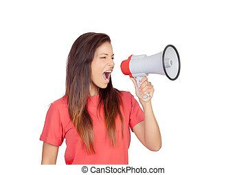 gridare, ragazza, brunetta, megafono, attraente