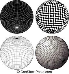 gridded, esferas, wireframe