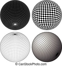 Gridded, wireframe spheres Gridded, wireframe spheres -...