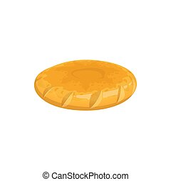 Round pita bread isolated griddle-cake. Vector crispy bakery food, biscuit or bun