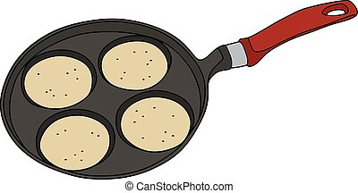 Griddle with pancakes - Hand drawing of a black and red...