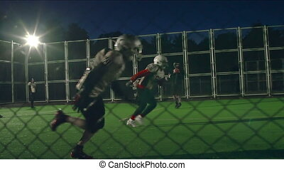 Gridiron - Camera following the ball in a dynamic down in...