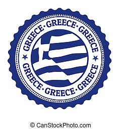 griechenland, briefmarke, oder, etikett