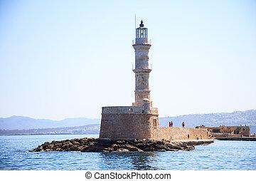 griechenland, kreta, -, chania, hafen, leuchturm