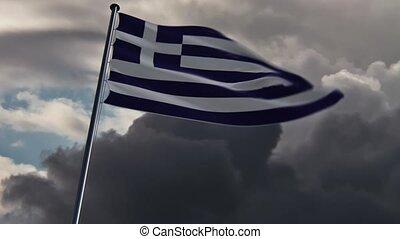 griechenland markierungsfahne, hq, belebt, doomy