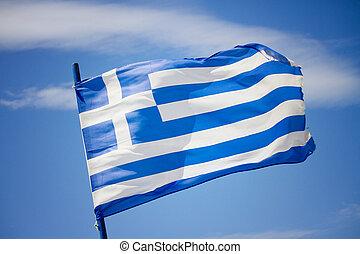 griechische markierung, in, der, blauer himmel