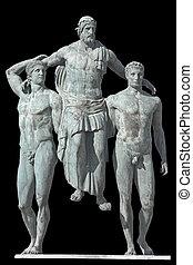 griechischer , diagoras, ära, statue, klassisch
