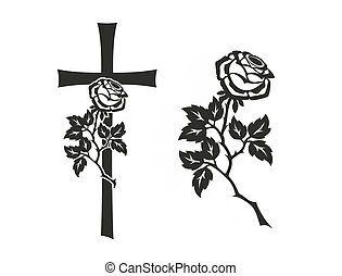 grief - decoration for funerals with cross and rose