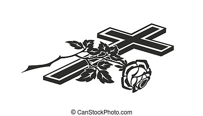 decoration for funerals with cross and rose