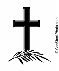 grief - abstract funeral decoration with cross and branch