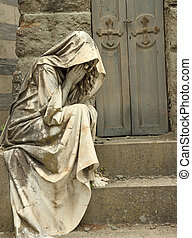 grief, tombstone on monumental cemetery in Florence, Italy, ...