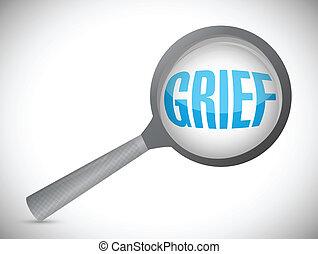 grief under a magnify glass illustration design over a white background
