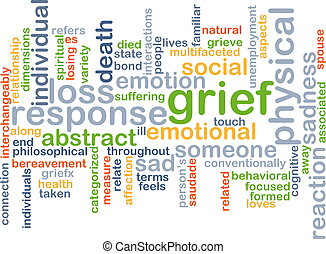 grief wordcloud concept illustration - Background text...