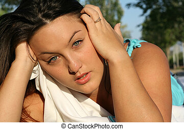 grief, young sad unhappy woman or teen grieving, crying tears