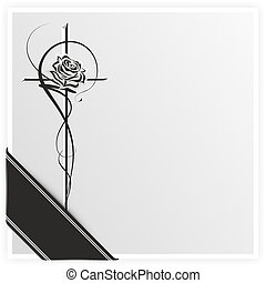 monochrome illustration of a rose on a cross with ribbon