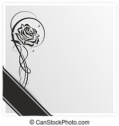 grief31d - monochrome illustration of a rose with ribbon