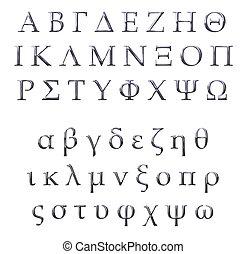 griego, 3d, plata, alfabeto