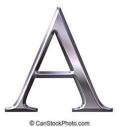 griego, 3d, plata, carta, alfa