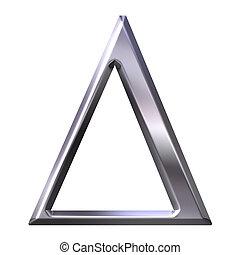 griego, 3d, plata, carta, delta