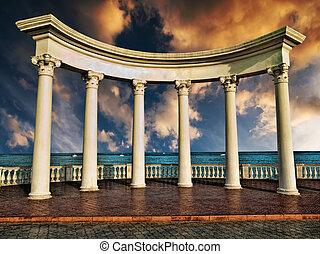 griego, antiguo, columnas
