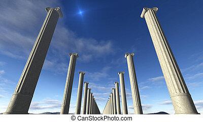 griego, antiguo, columnas, fila