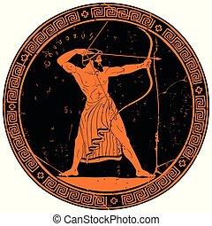 griego, antiguo, warrior.