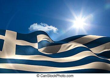griego, bandera nacional, debajo, soleado, cielo