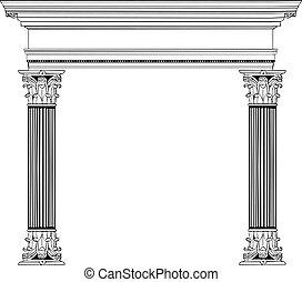 griego, columna, y, arco