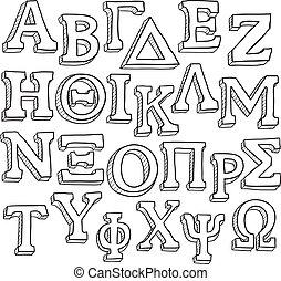 griego, conjunto, alfabeto