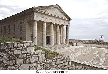 griego, corfu, antiguo, templo, clásico