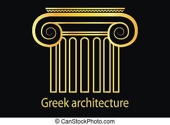 griego, dorado, columna