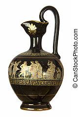 griego, estilo, jarra