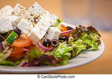 griego, feta, ensalada