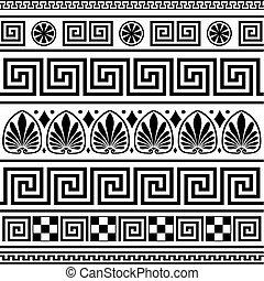 griego, fronteras, vector, conjunto