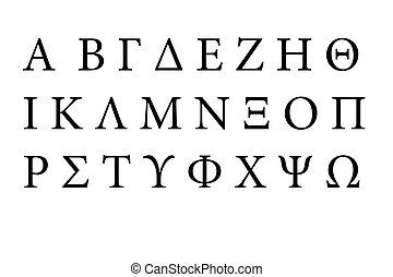 griego, fuente, alfabeto