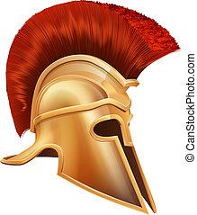 griego, guerrero, antiguo, casco