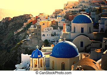 griego, ocaso, en, santorini