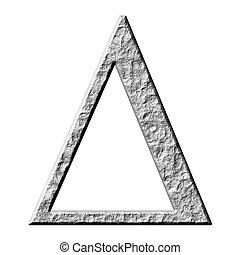 griego, piedra, 3d, carta, delta